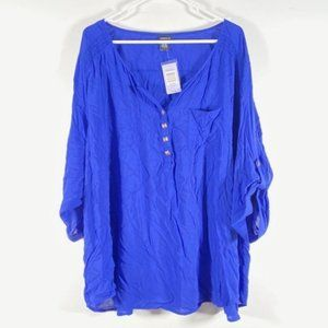 Torrid Roll Tab Stud Pullover V Neck Blouse Blue 4